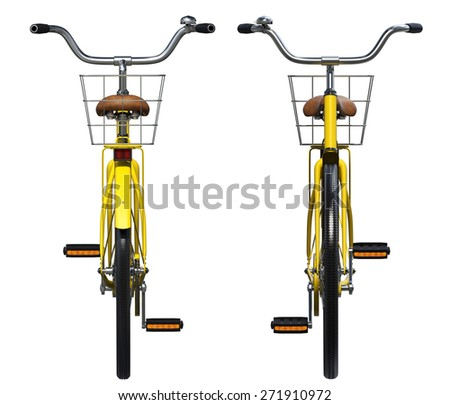 Yellow Vintage Style Bicycle. Front and back view - stock photo