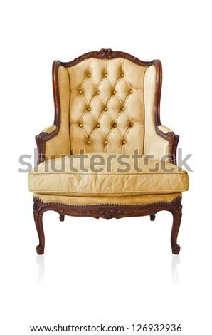 Yellow vintage style sofa isolated on white background. - stock photo