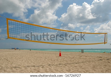 Yellow volleyball net on Sunny Isles Beach, Florida - stock photo
