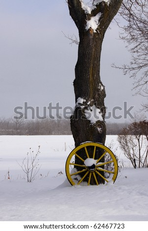 Yellow wagon wheels leans against a bare tree in a snowy field - stock photo