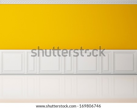 Yellow wall in a classic style  and reflection white floor - stock photo