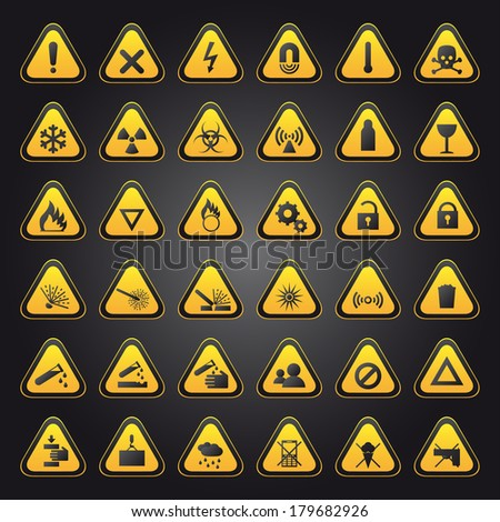 Yellow warning and danger signs collection (Vector version is also available in my portfolio, ID 118940962)