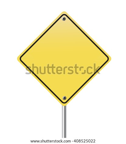 Yellow, warning, road sign on white background.