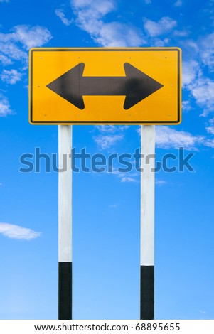 yellow warning sign - stock photo