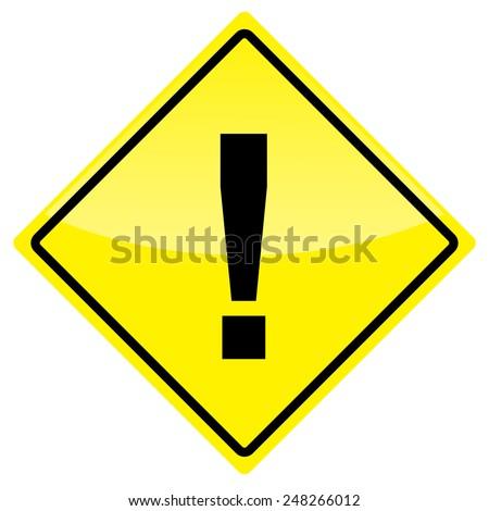 Yellow warning sign isolated on white background.  - stock photo