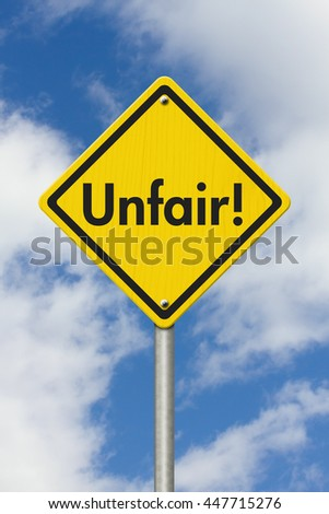 Yellow Warning Unfair Highway Road Sign, Yellow Warning Highway Sign with words Unfair Checkpoint with sky background, 3D illustrator  - stock photo