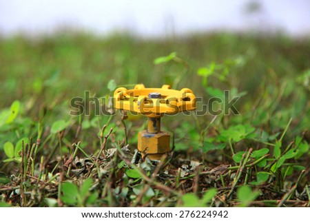 Yellow water valve in the middle of plants - stock photo