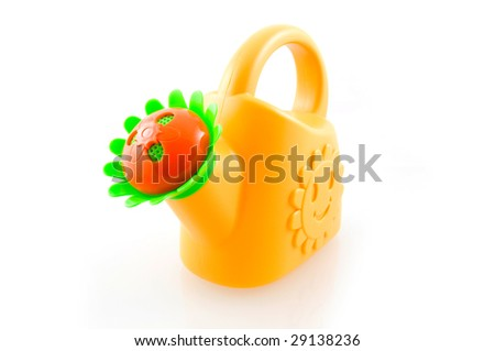 Yellow watering can isolated on white background - stock photo