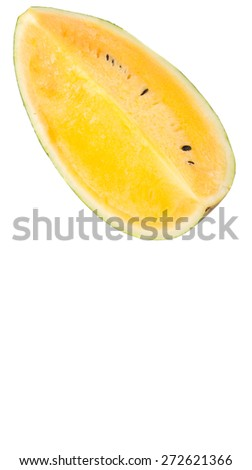 Yellow watermelon fruit over white background
