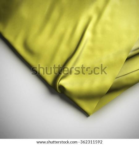 Yellow Waving flag background. Luxury fabric background. - stock photo