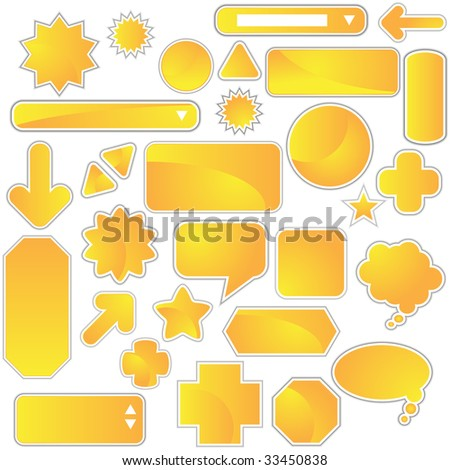 yellow web icon set
