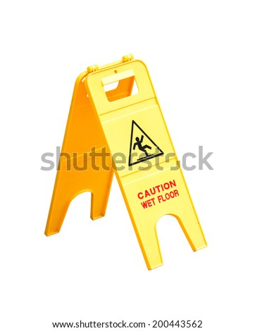yellow wet floor sign isolated on white background