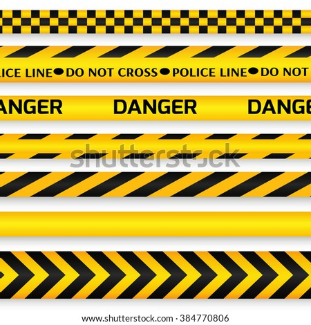 Yellow with black police line, security warning, danger tapes set with text Do not cross, Danger. For web, criminal and law design.