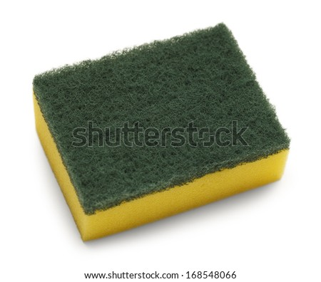 Yellow with Green Top Scrubbing Pad Isolated on White Background.