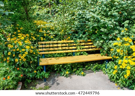 Yellow wooden bench in the park in the green and yellow garden flowers
