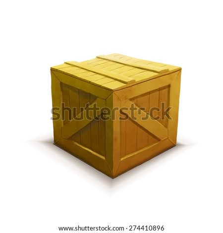Yellow wooden crate with shadow, realistic icon isolated on white - stock photo