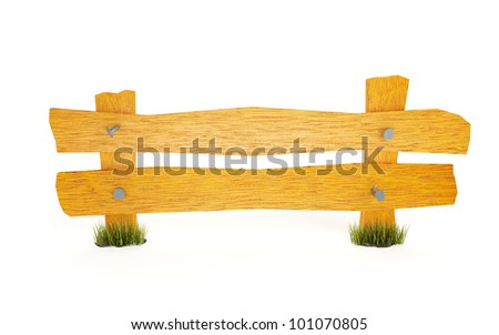 yellow wooden fence on a white background