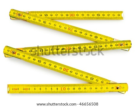 yellow wooden meter over the white background - stock photo