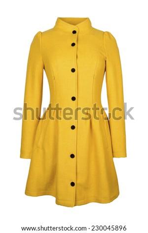 yellow woolen coat - stock photo