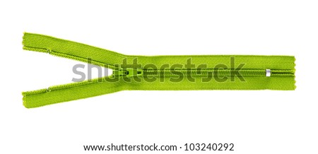 yellow zipper isolated on white