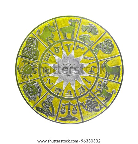 Yellow zodiac wheel with clipping path included - stock photo