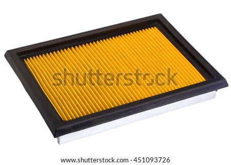 Yellowe flat engine air filter in a metal case and rubber sealant, on a white background.