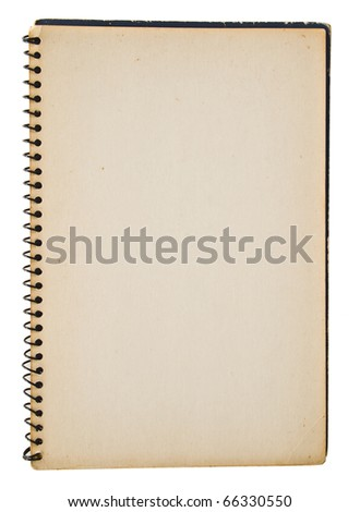 Yellowed back cover of blue spiral notebook isolated on white - stock photo