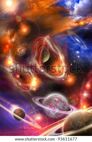 yellowish red nebulae and planets in the futuristic space - stock photo