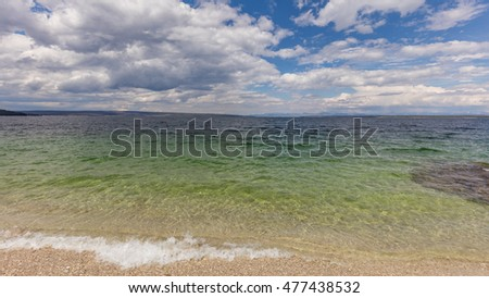Yellowstone Lake, the largest lake at high elevation in North America. West Thumb Geyser Basin, Yellowstone National Park, Wyoming