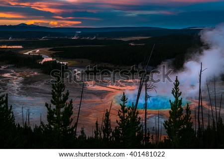Yellowstone National Park after Sunset Grand Prizmatic Overlook - stock photo