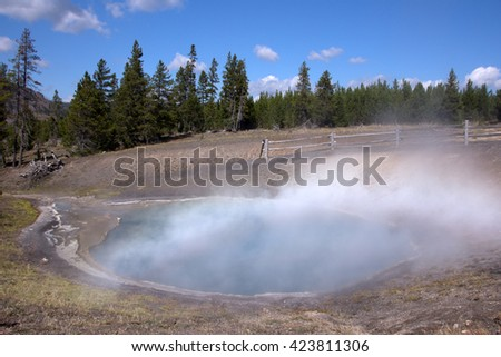 Yellowstone National Park is a national park located primarily in the U.S. state of Wyoming, although it also extends into Montana and Idaho.  - stock photo
