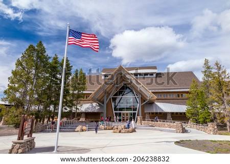 Yellowstone National Park Old Faithful visitor education center, USA - stock photo