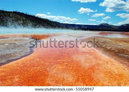 Yellowstone National Park's Grand Prismatic Spring - stock photo
