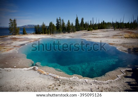 Yellowstone national park thermal pool - stock photo