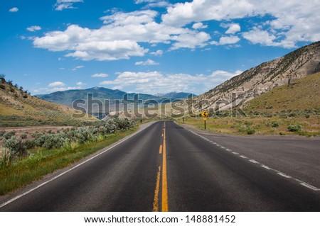 Yellowstone road - stock photo