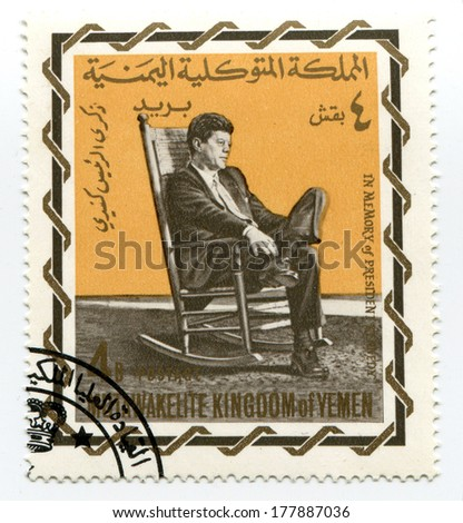 YEMEN-CIRCA 1965: John Fitzgerald Kennedy on Yemen postage stamp, circa 1965 - stock photo