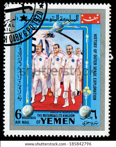 YEMEN - CIRCA 1980s: a stamp printed by Yemen shows cosmonauts (APOLLO 9, MARCH 3, 1969), circa 1980s