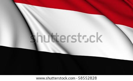 Yemen flag render illustration - stock photo