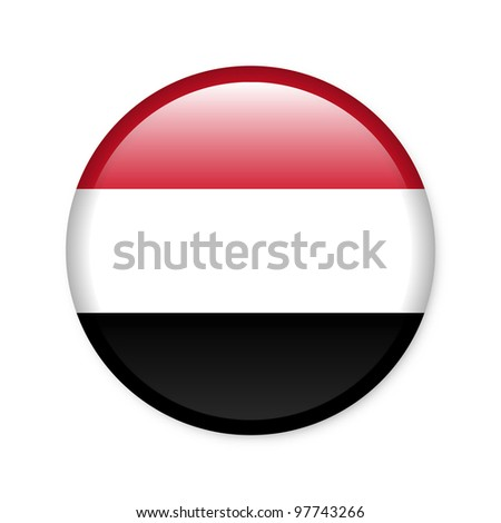 Yemen - glossy button with flag - stock photo