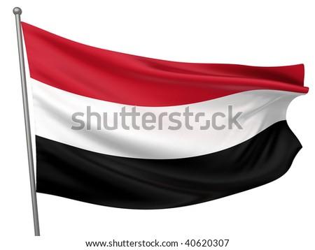 Yemen National Flag - stock photo