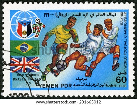 YEMEN PDR - CIRCA 1990: A stamp printed in Yemen PDR shows Soccer game, Brazil, England, 1958, History of World Cup Soccer Championships, circa 1990 - stock photo