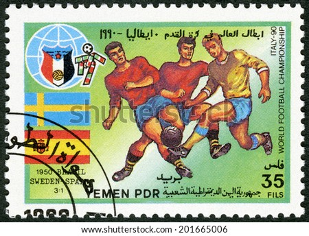 YEMEN PDR - CIRCA 1990: A stamp printed in Yemen PDR shows Soccer game, Sweden, Spain, 1950, History of World Cup Soccer Championships, circa 1990 - stock photo