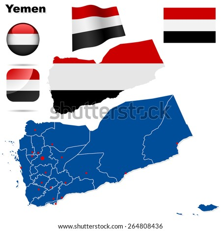 Yemen set. Detailed country shape with region borders, flags and icons isolated on white background. - stock photo