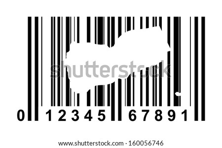 Yemen shopping bar code isolated on white background.