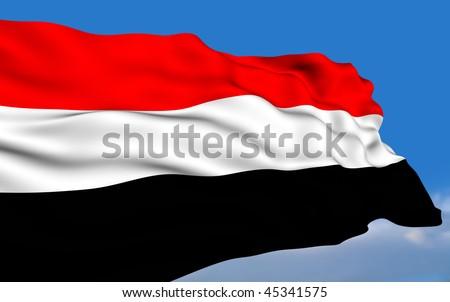Yemeni flag waving on wind - stock photo
