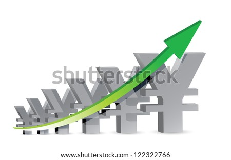 yen Business Graph illustration design over a white background
