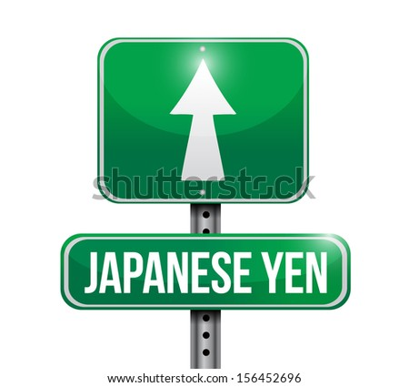 yen currency road illustration design over a white background