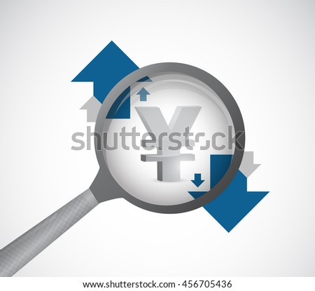 yen currency under review. magnify detail investigation concept illustration