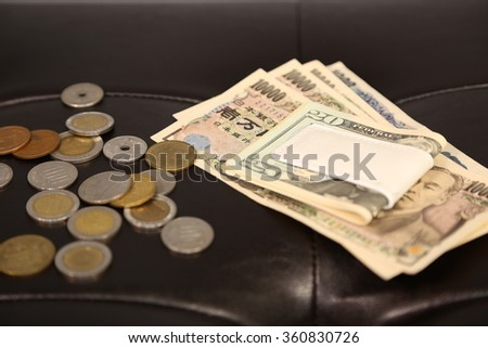 yen , dollar and coins