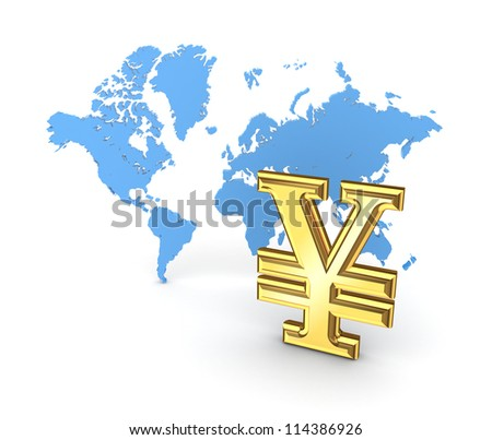 Yen symbol and map of the world.Isolated on white background.3d rendered. - stock photo
